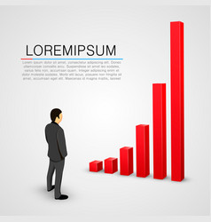 Businessman look at growing chart vector