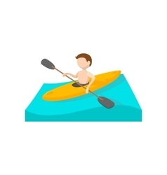 Canoeing cartoon icon vector