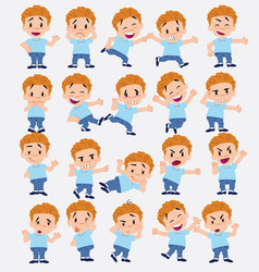 Cartoon character of a blond boy in jeans set vector