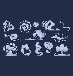 cartoon smoke vfx comic bang clouds explosion of vector image