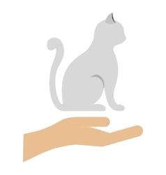 Cat logo flat style vector