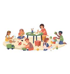 Children playing in playroom kindergarten kids vector