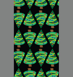 christmas trees on black seamless pattern vector image