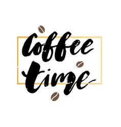 Coffee time gold frame lettering calligraphy vector