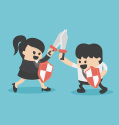 Concept business struggle man and woman with vector