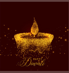 Creative diwali diya made with golden particles vector