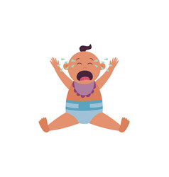 crying bais sitting in diaper and bib with arms vector image