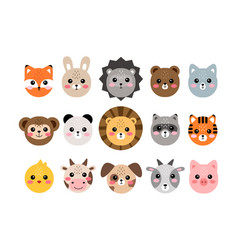 Cute animal faces hand drawn characters vector