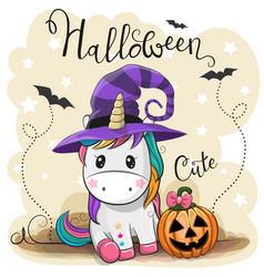Cute cartoon unicorn with pumpkin vector