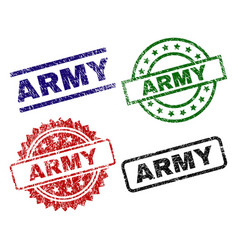 Damaged textured army stamp seals vector