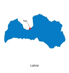 Detailed map of Latvia and capital city Riga vector image