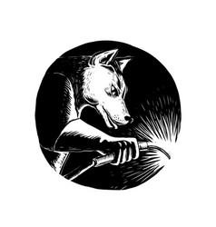 dingo dog welder scratchboard vector image
