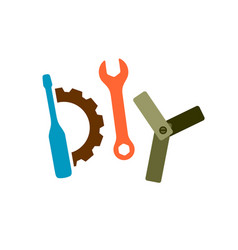 diy logo with tools wrench screwdriver gear and vector image