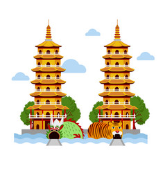 Dragon and tiger temple at kaohsiung taiwan vector