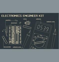 Electronics components kit blueprints vector