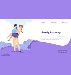 family planning landing page cartoon happy couple vector image