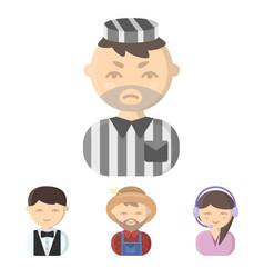 farmer operator waiter prisonerprofession set vector image