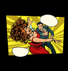 fight man hits woman domestic violence vector image