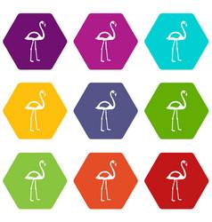 Flamingo icon set color hexahedron vector