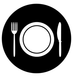 Fork plate and knife button vector image