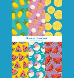 fresh fruits set patterns backgrounds vector image