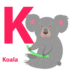 funny gray koala on letter k alphabet art poster vector image