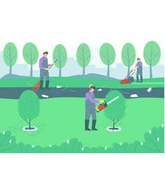 Gardening handyman cleaning park vector