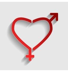 Gender signs in heart shape vector image