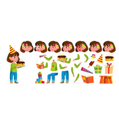 Girl kindergarten kid animation creation vector