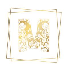 Golden ornamental alphabet letter m font on white vector
