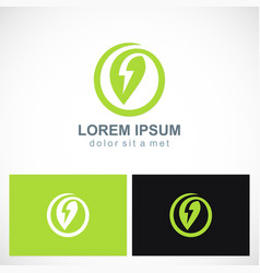 Green leaf energy bolt logo vector