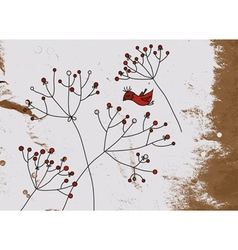 Grunge background with birds and flower vector image