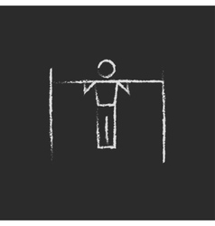 Gymnast on the bar icon drawn in chalk vector image