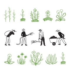 Hand drawn farming men vector image vector image
