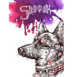 hand drawn sketch dog steampunk style vector image