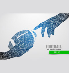 Hand holds the rugby ball silhouette from triangle vector