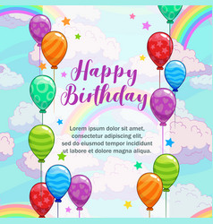 happy birthday greetings greeting card with vector image