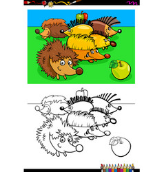Hedgehogs animal characters group color book vector