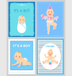 its a boy greeting card bamilestones 1 to 12 vector image