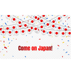 japan garland flag with confetti on transparent vector image