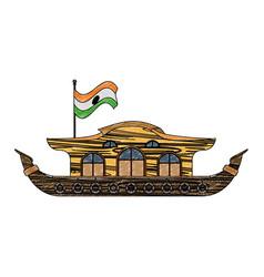 Kerala houseboat isolated scribble vector