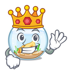 King fishbowl in a funny on cartoon vector