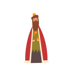 king in golden crown and red mantle european vector image