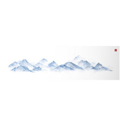 Landscape with blue mountains traditional vector