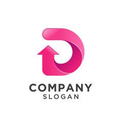 Letter d with arrow icon logo design vector