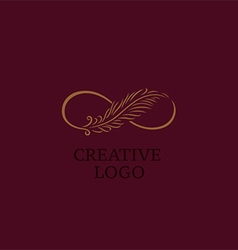 Linear creative logo infinity sign and Feather vector