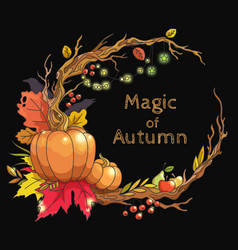 Magic autumn frame vector