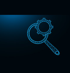 magnifying glass and cogwheel low poly design vector image