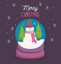 merry christmas celebration snowglobe with snowman vector image