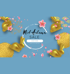 mid autumn festival sale template gold rabbit vector image